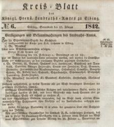 Kreis-Blatt des Königlich Preußischen Landraths-Amtes zu Elbing, Nr. 6 Sonnabend 12 Februar 1842