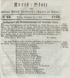 Kreis-Blatt des Königlich Preußischen Landraths-Amtes zu Elbing, Nr. 13 Sonnabend 2 April 1842