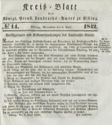Kreis-Blatt des Königlich Preußischen Landraths-Amtes zu Elbing, Nr. 14 Sonnabend 9 April 1842