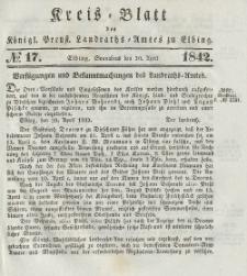 Kreis-Blatt des Königlich Preußischen Landraths-Amtes zu Elbing, Nr. 17 Sonnabend 30 April 1842