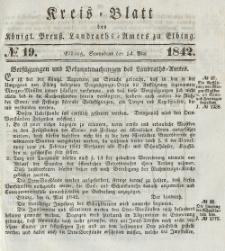 Kreis-Blatt des Königlich Preußischen Landraths-Amtes zu Elbing, Nr. 19 Sonnabend 14 Mai 1842