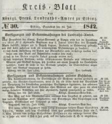 Kreis-Blatt des Königlich Preußischen Landraths-Amtes zu Elbing, Nr. 30 Sonnabend 30 Juli 1842