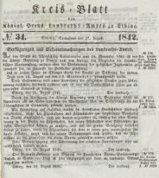 Kreis-Blatt des Königlich Preußischen Landraths-Amtes zu Elbing, Nr. 34 Sonnabend 27 August 1842