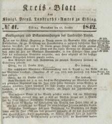 Kreis-Blatt des Königlich Preußischen Landraths-Amtes zu Elbing, Nr. 41 Sonnabend 15 Oktober 1842