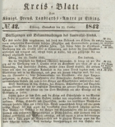 Kreis-Blatt des Königlich Preußischen Landraths-Amtes zu Elbing, Nr. 42 Sonnabend 22 Oktober 1842