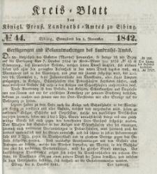 Kreis-Blatt des Königlich Preußischen Landraths-Amtes zu Elbing, Nr. 44 Sonnabend 5 November 1842