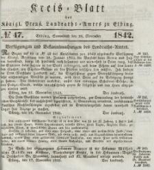 Kreis-Blatt des Königlich Preußischen Landraths-Amtes zu Elbing, Nr. 47 Sonnabend 26 November 1842