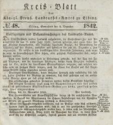 Kreis-Blatt des Königlich Preußischen Landraths-Amtes zu Elbing, Nr. 48 Sonnabend 3 Dezember 1842