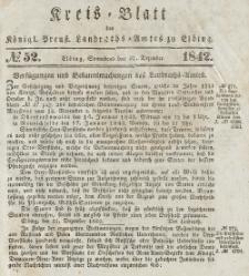 Kreis-Blatt des Königlich Preußischen Landraths-Amtes zu Elbing, Nr. 52 Sonnabend 31 Dezember 1842