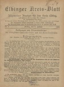 Kreis-Blatt des Königlich Preußischen Landraths-Amtes zu Elbing, Nr. 1 Freitag 4 Januar 1895