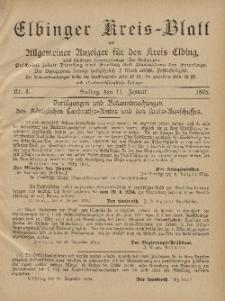 Kreis-Blatt des Königlich Preußischen Landraths-Amtes zu Elbing, Nr. 3 Freitag 11 Januar 1895