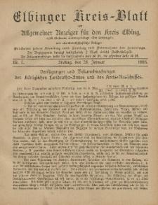 Kreis-Blatt des Königlich Preußischen Landraths-Amtes zu Elbing, Nr. 7 Freitag 25 Januar 1895