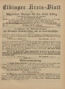 Kreis-Blatt des Königlich Preußischen Landraths-Amtes zu Elbing, Nr. 11 Freitag 8 Februar 1895
