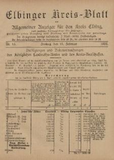 Kreis-Blatt des Königlich Preußischen Landraths-Amtes zu Elbing, Nr. 13 Freitag 15 Februar 1895