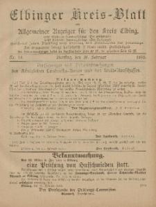 Kreis-Blatt des Königlich Preußischen Landraths-Amtes zu Elbing, Nr. 14 Dienstag 19 Februar 1895