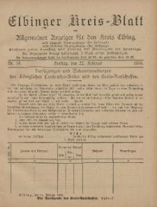 Kreis-Blatt des Königlich Preußischen Landraths-Amtes zu Elbing, Nr. 15 Freitag 22 Februar 1895