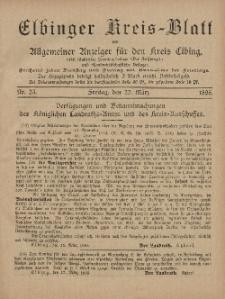 Kreis-Blatt des Königlich Preußischen Landraths-Amtes zu Elbing, Nr. 23 Freitag 22 März 1895