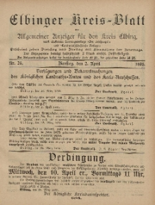 Kreis-Blatt des Königlich Preußischen Landraths-Amtes zu Elbing, Nr. 26 Dienstag 2 April 1895