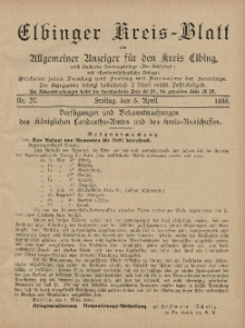 Kreis-Blatt des Königlich Preußischen Landraths-Amtes zu Elbing, Nr. 27 Freitag 5 April 1895