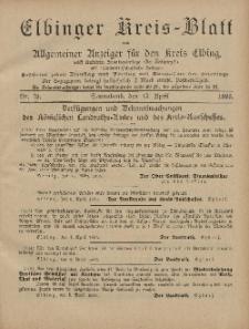 Kreis-Blatt des Königlich Preußischen Landraths-Amtes zu Elbing, Nr. 29 Sonnabend 13 April 1895