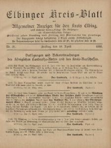 Kreis-Blatt des Königlich Preußischen Landraths-Amtes zu Elbing, Nr. 31 Freitag 19 April 1895