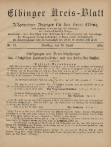 Kreis-Blatt des Königlich Preußischen Landraths-Amtes zu Elbing, Nr. 32 Dienstag 23 April 1895