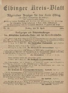Kreis-Blatt des Königlich Preußischen Landraths-Amtes zu Elbing, Nr. 33 Freitag 26 April 1895