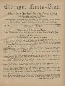 Kreis-Blatt des Königlich Preußischen Landraths-Amtes zu Elbing, Nr. 34 Dienstag 30 April 1895