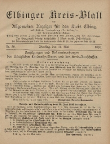 Kreis-Blatt des Königlich Preußischen Landraths-Amtes zu Elbing, Nr. 38 Dienstag 14 Mai 1895