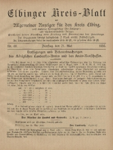Kreis-Blatt des Königlich Preußischen Landraths-Amtes zu Elbing, Nr. 40 Dienstag 21 Mai 1895