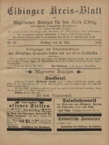 Kreis-Blatt des Königlich Preußischen Landraths-Amtes zu Elbing, Nr. 42 Dienstag 28 Mai 1895