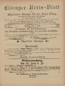 Kreis-Blatt des Königlich Preußischen Landraths-Amtes zu Elbing, Nr. 45 Freitag 7 Juni 1895
