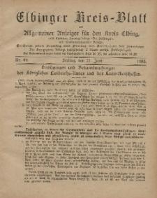 Kreis-Blatt des Königlich Preußischen Landraths-Amtes zu Elbing, Nr. 49 Freitag 21 Juni 1895
