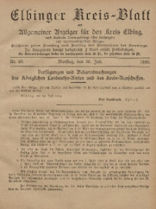 Kreis-Blatt des Königlich Preußischen Landraths-Amtes zu Elbing, Nr. 60 Dienstag 30 Juli 1895