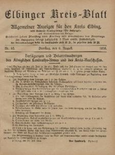 Kreis-Blatt des Königlich Preußischen Landraths-Amtes zu Elbing, Nr. 62 Dienstag 6 August 1895