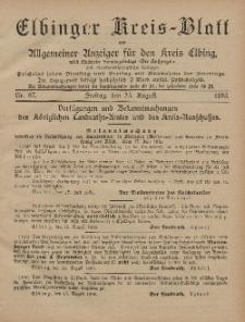 Kreis-Blatt des Königlich Preußischen Landraths-Amtes zu Elbing, Nr. 67 Freitag 23 August 1895