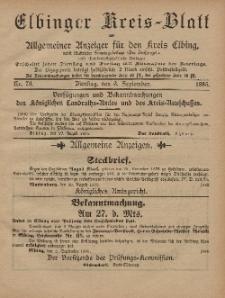 Kreis-Blatt des Königlich Preußischen Landraths-Amtes zu Elbing, Nr. 70 Dienstag 3 September 1895