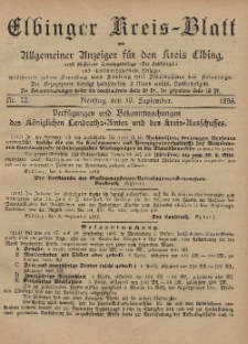 Kreis-Blatt des Königlich Preußischen Landraths-Amtes zu Elbing, Nr. 72 Dienstag 10 September 1895