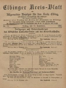 Kreis-Blatt des Königlich Preußischen Landraths-Amtes zu Elbing, Nr. 73 Freitag 13 September 1895