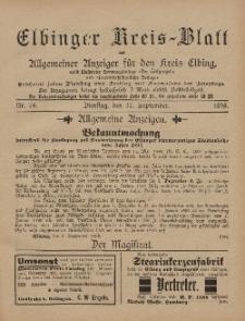 Kreis-Blatt des Königlich Preußischen Landraths-Amtes zu Elbing, Nr. 74 Dienstag 17 September 1895