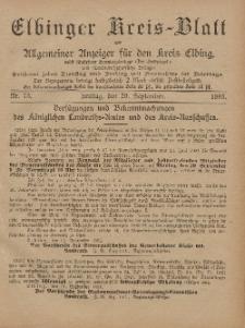 Kreis-Blatt des Königlich Preußischen Landraths-Amtes zu Elbing, Nr. 75 Freitag 20 September 1895