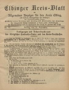 Kreis-Blatt des Königlich Preußischen Landraths-Amtes zu Elbing, Nr. 77 Freitag 27 September 1895