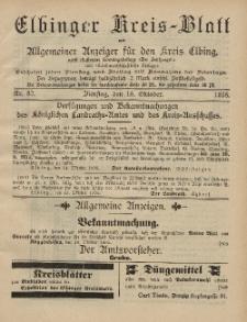 Kreis-Blatt des Königlich Preußischen Landraths-Amtes zu Elbing, Nr. 82 Dienstag 15 Oktober 1895