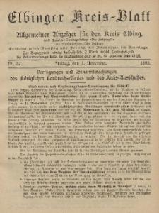 Kreis-Blatt des Königlich Preußischen Landraths-Amtes zu Elbing, Nr. 87 Freitag 1 November 1895