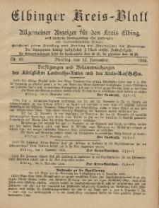 Kreis-Blatt des Königlich Preußischen Landraths-Amtes zu Elbing, Nr. 90 Dienstag 12 November 1895