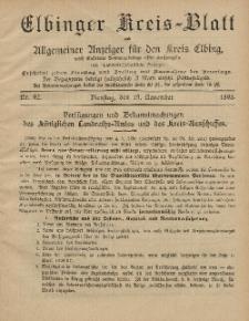 Kreis-Blatt des Königlich Preußischen Landraths-Amtes zu Elbing, Nr. 92 Dienstag 19 November 1895