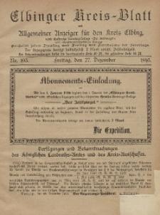 Kreis-Blatt des Königlich Preußischen Landraths-Amtes zu Elbing, Nr. 103 Freitag 27 Dezember 1895