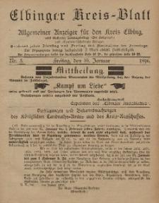 Kreis-Blatt des Königlich Preußischen Landraths-Amtes zu Elbing, Nr. 3 Freitag 10 Januar 1896