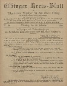 Kreis-Blatt des Königlich Preußischen Landraths-Amtes zu Elbing, Nr. 14 Dienstag 18 Februar 1896