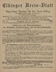 Kreis-Blatt des Königlich Preußischen Landraths-Amtes zu Elbing, Nr. 16 Dienstag 25 Februar 1896